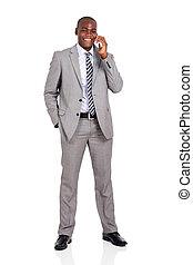 african american, ビジネス男, 話し続けている携帯電話