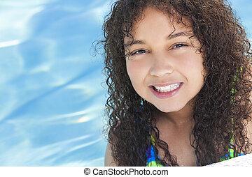 african american, レース, 子供, 混ぜられた, 女の子, プール, 水泳