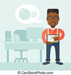 african-american 人, 地位, 彼の, tablet.