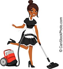 african american, 少女, 吸塵器