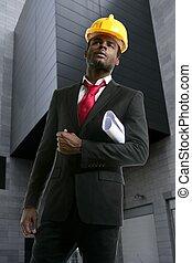 african american, 建築家, エンジニア, 黄色, hardhat