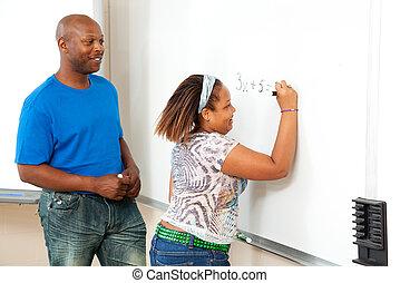 african american, 教師, そして, 学生