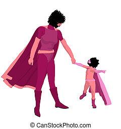african american, 特級英雄, 媽媽, 插圖, 黑色半面畫像