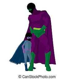 african american, 特級英雄, 爸爸, 插圖, 黑色半面畫像