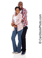 african american 男, 抱き合う, 彼の, ガールフレンド