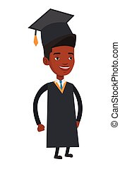 african american, 矢量, illustration., 畢業生