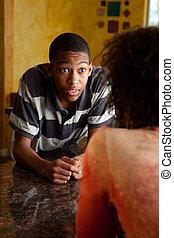african-american, 若い, 驚かされる, 人