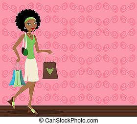 african-american, 쇼핑객