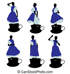 African American Alice In Wonderland Silhouette Illustration...