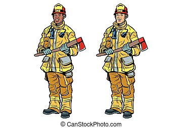 African American and Caucasian firemen in uniform with axes....
