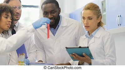 African American Assistant Woman Show Team Of Scientists Different Test Tubes, Team Of Researchers Making Notes Analyzing Results Of Experiment In Lab