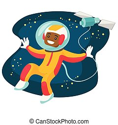 African-american astronaut flying in open space.