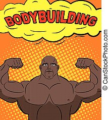 African American athlete in style of pop art. Trained bodybuilder shows big biceps. Bubble with text bodybuilding. Retro vector illustration