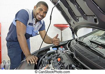 African-American Auto Tech - Horizontal shot of an...