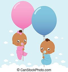 African American babies with balloons. Vector illustration