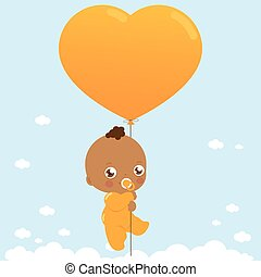 African American baby holding balloon and flying in the sky. Vector illustration