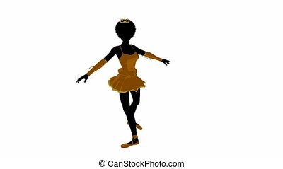 African american ballerina on a white background