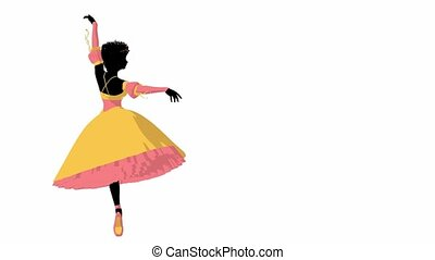African american ballerina twirling around on a white background