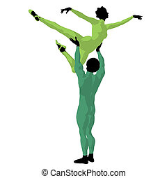 African American Ballet Couple Illustration Silhouette -...