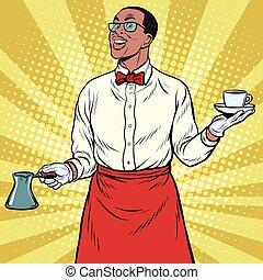 African American Barista made freshly ground coffee, pop art retro illustration