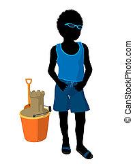 African American Beach Boy Silhouet