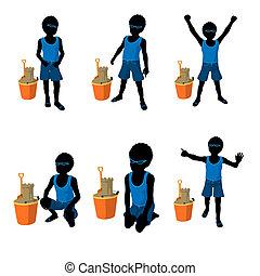 African American Beach Boy Silhouette Illustration