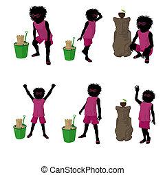 African American Beach Girl Silhouette Illustration