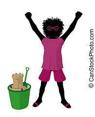 African American Beach Girl Silhouette Illustration -...