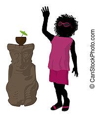 African American Beach Girl Silhouette Illustration -...