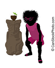 African American Beach Girl Silhouette Illustration