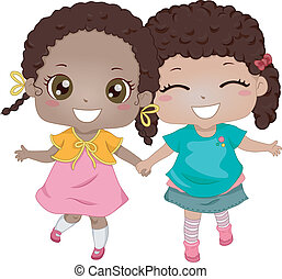 African-American Best Friends - Illustration of...