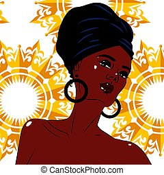 African american black beauty woman portrait.