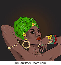 African american black beauty woman portrait with floral decorations.  illustration