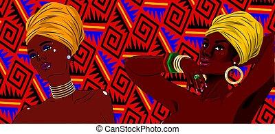 African american black beauty women portrait.