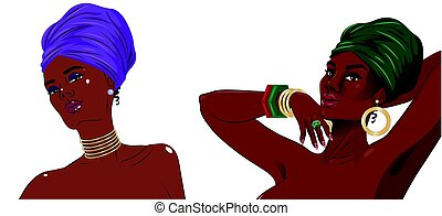 African american black beauty women portrait