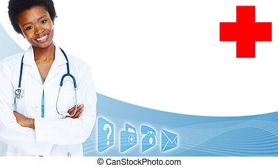 African-American black doctor woman.