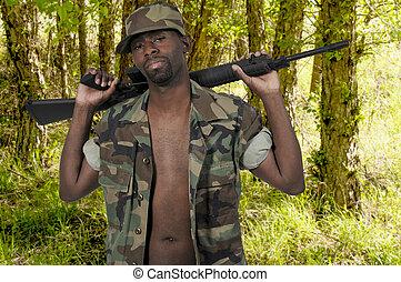 African American Black Man Soldier