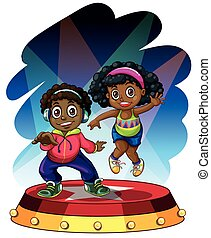 African american boy and girl dancing illustration