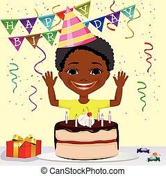 african american boy boy celebrating his birthday smiling -...