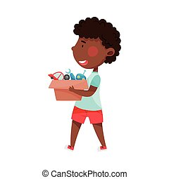 African American Boy Character Carrying Sorted Garbage for Recycling Vector Illustration