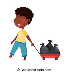 African American Boy Character Pulling Platform Trolley with Trash Pack as Sorted Garbage for Recycling Vector Illustration