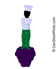African American Boy Chef Silhouette Illustration - African...