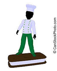 African American Boy Chef Silhouette Illustration