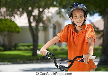 African American Boy Child Riding Bike