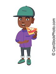 African-american boy eating tasty pizza.