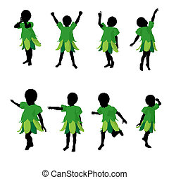 African American Boy Fairy Silhouette Illustration - African...