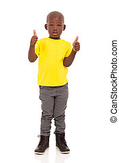african american boy giving thumbs up