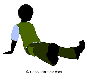 African American Boy Illustration Silhouette