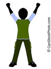 African American Boy Illustration Silhouette - African...