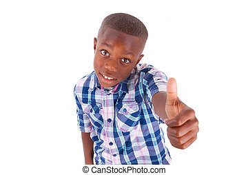 African American boy making thumbs up - Black people